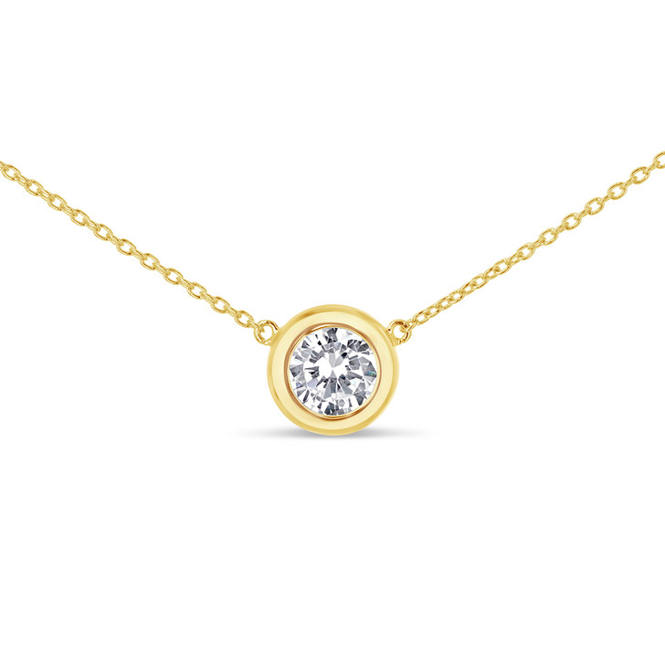 Auriela Round Cubic Zirconia Fixed Bezel Pendant Necklace