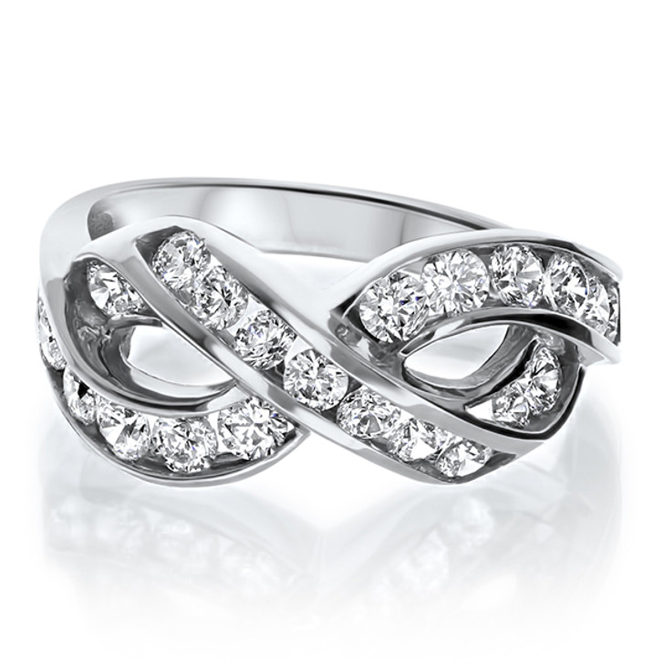 Infinity Design Band with Channel Set CZ Rounds in 14K White Gold