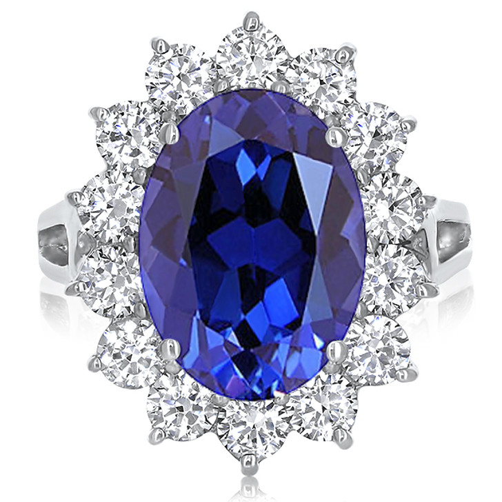 Diana 5.5 Carat Lab Sapphire Oval with CZ Rounds Ring in 14K White Gold