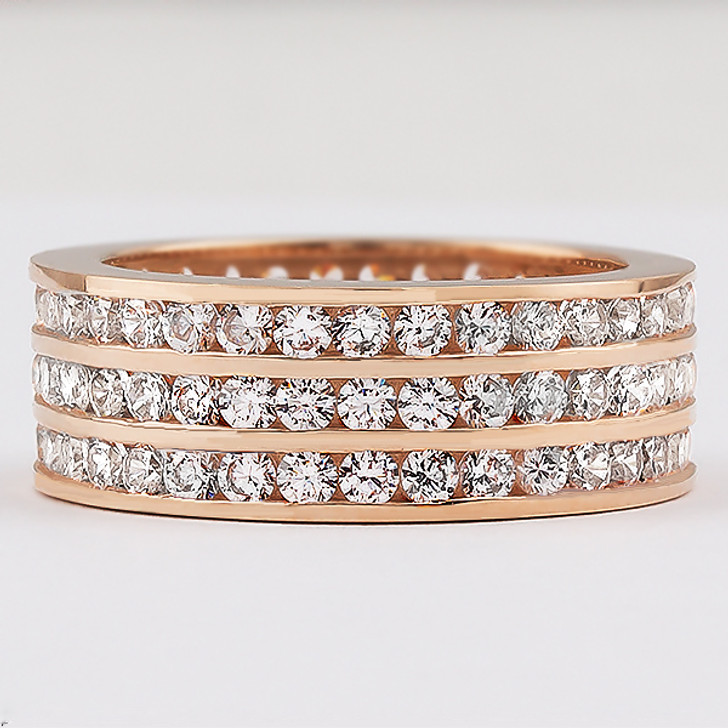 Bandeau Triple Row Eternity Band in 14K Rose Gold, Size 7.0