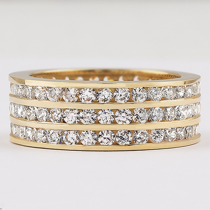 Bandeau Triple Row Eternity Band in 14K Yellow Gold, Size 7.25