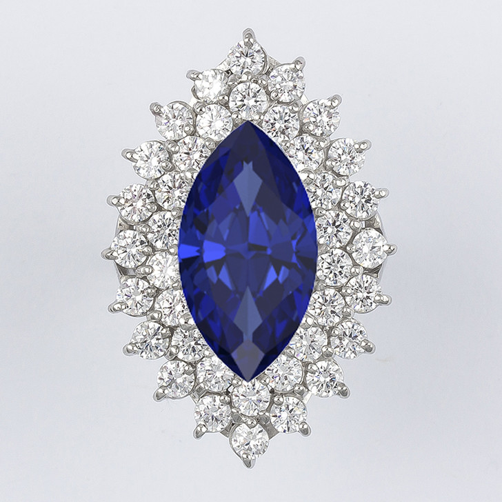 Delaney 7.0 Carat Lab Created Sapphire Marquise Cluster Ring