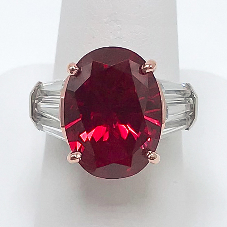 9.0 Ct Lab Ruby Oval with Rose Gold Basket Triple Baguettes Ring
