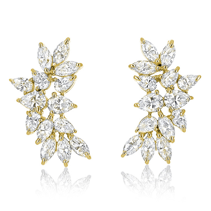 Cassandra Small Pear & Marquise Cluster CZ Earrings in 14K Yellow Gold