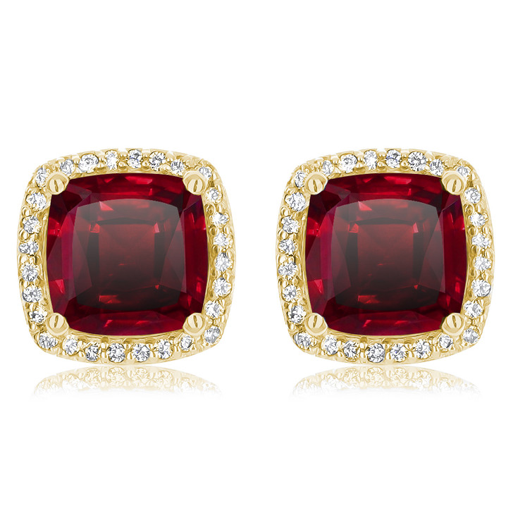Christine 1.5 Ct Center Lab Ruby Halo Earrings in 14K Yellow Gold