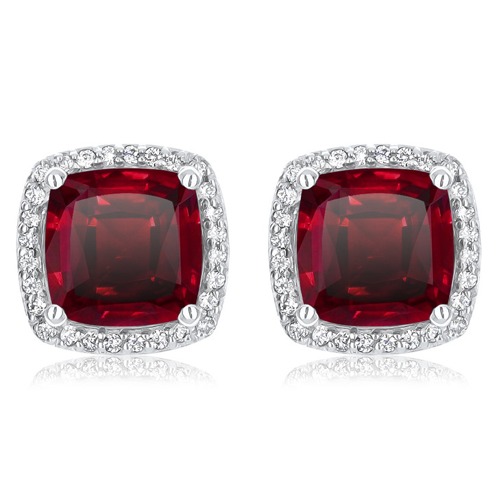 Christine 4.0 Ct Center Lab Ruby Halo Earrings - Sale