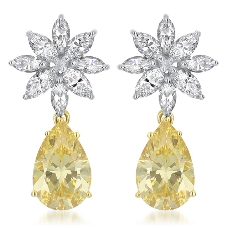 Marquise Snowflake with Canary Pear CZ Drop Earrings