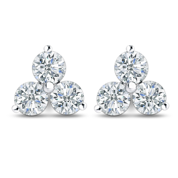 Petite Trio of Rounds Three Stone Cubic Zirconia Cluster Earrings