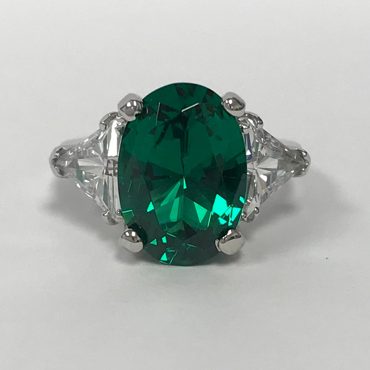 5.5 Carat Simulated Emerald Oval Three Stone CZ Trillion Ring, 14K White Gold