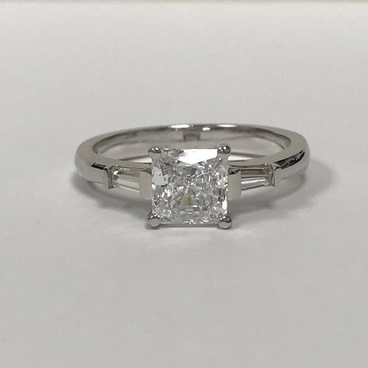 1.0 Carat Princess Cut CZ Baguette Solitaire Engagement Ring