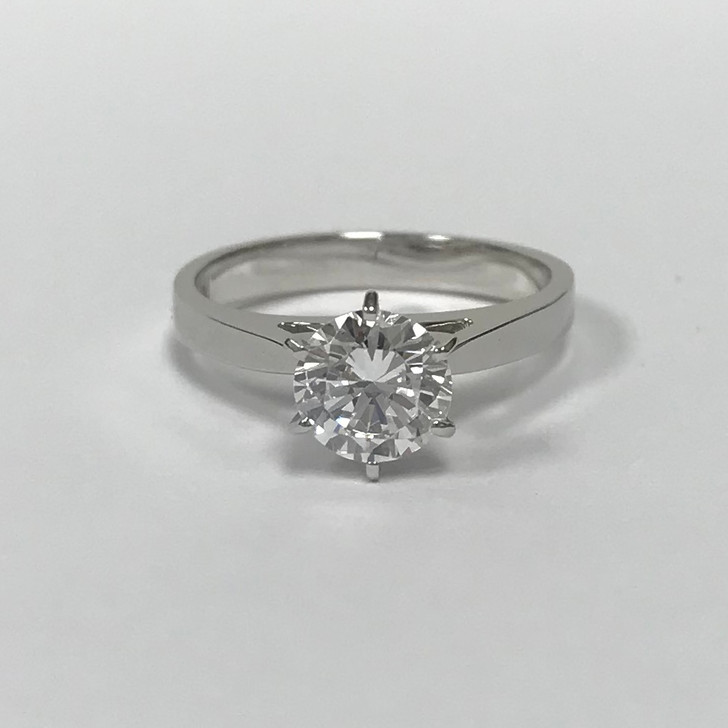 1.0 Carat Round Cubic Zirconia Cathedral Solitaire Engagement Ring