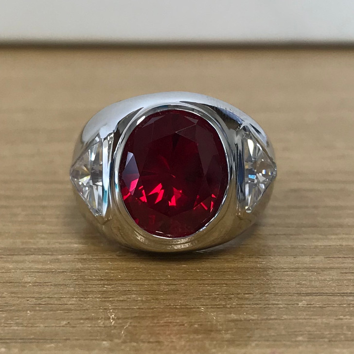 4.0 Carat Lab Ruby Oval with CZ Trillions Ring, size 6.25