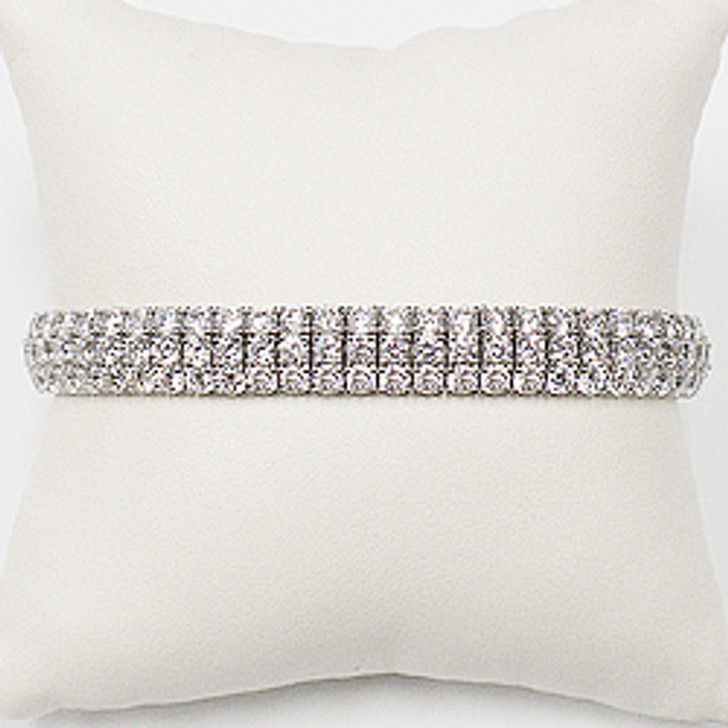 Triple Row Prong Set CZ Rounds Bracelet, 18.5 Ct TW in 14K White Gold