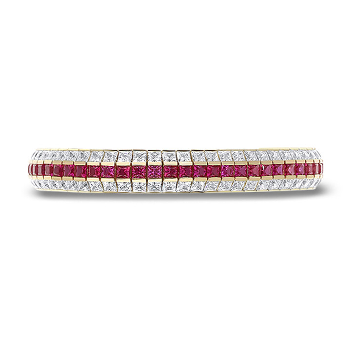 Lab Created Ruby and CZ Adrianna Triple Row Channel Set Bracelet, 32.5 CTW