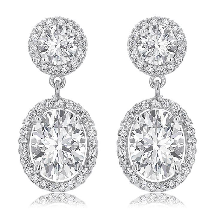 Skye Halo Oval Cubic Zirconia Drop Earrings in 14K White Gold