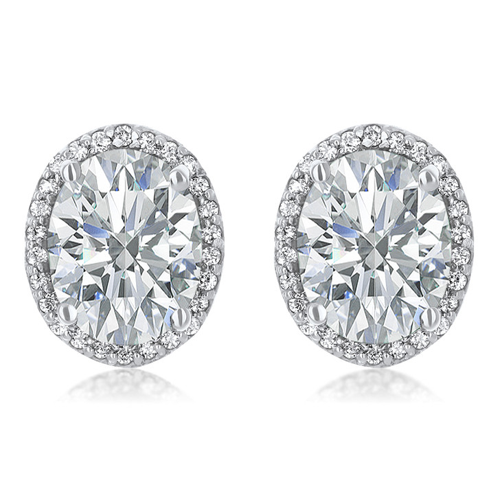 2.5 Carat Center Madison Oval Cubic Zirconia Halo CZ Stud Earrings