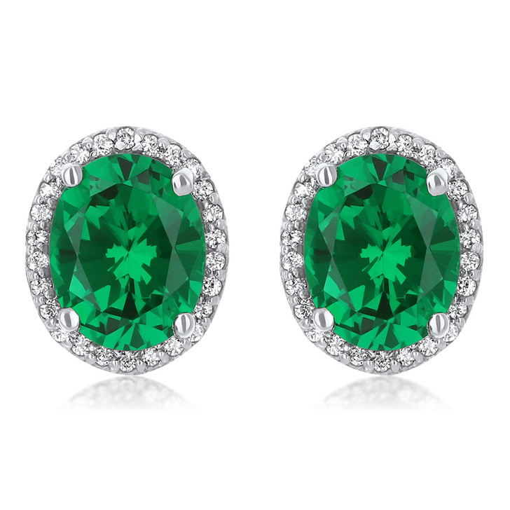 2.5 Carat Center Madison Simulated Emerald Oval with Cubic Zirconia Halo CZ Stud Earrings