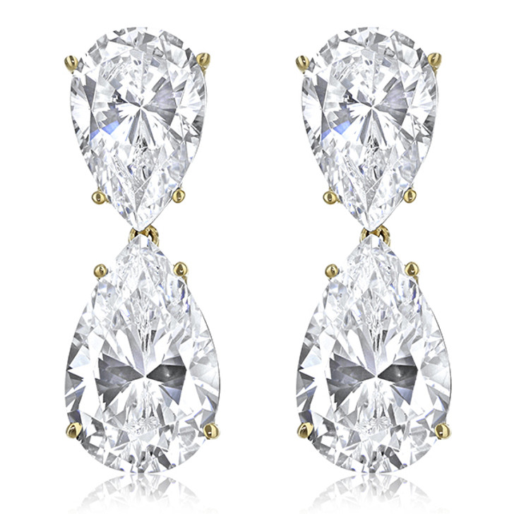 14.0 CTW Milena Pear Top with Pear Drop CZ Earrings in 14K Yellow Gold