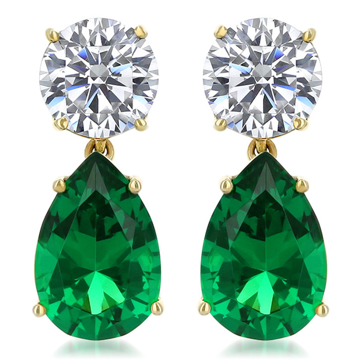 9.0 CTW Arlene Round Top with Simulated Emerald Pear Drop Earrings