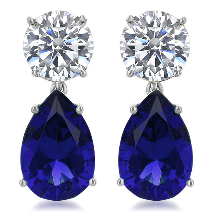 14.0 CTW Arlene Round Top with Lab Sapphire Pear Drop Earrings