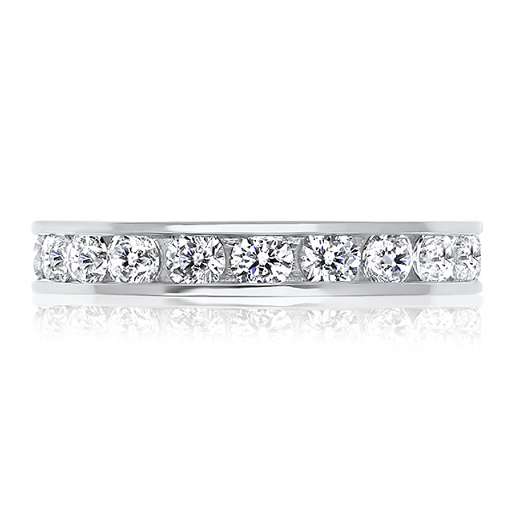 Medium Channel Set Round CZ Eternity Band in White Gold Select Sizes