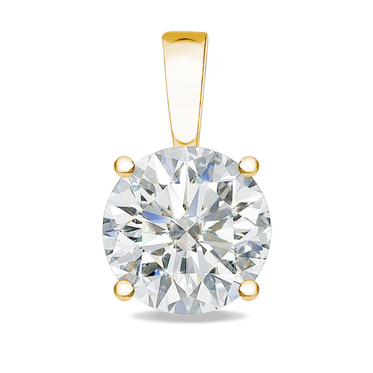 1.0 Carat Allure Round CZ Solid Bail Solitaire Pendant in Yellow Gold