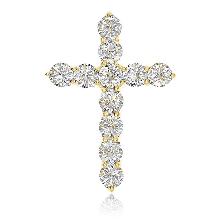 18K Gold CZ Rounds Designer Inspired Cross Pendant, 1.25 Carats Total
