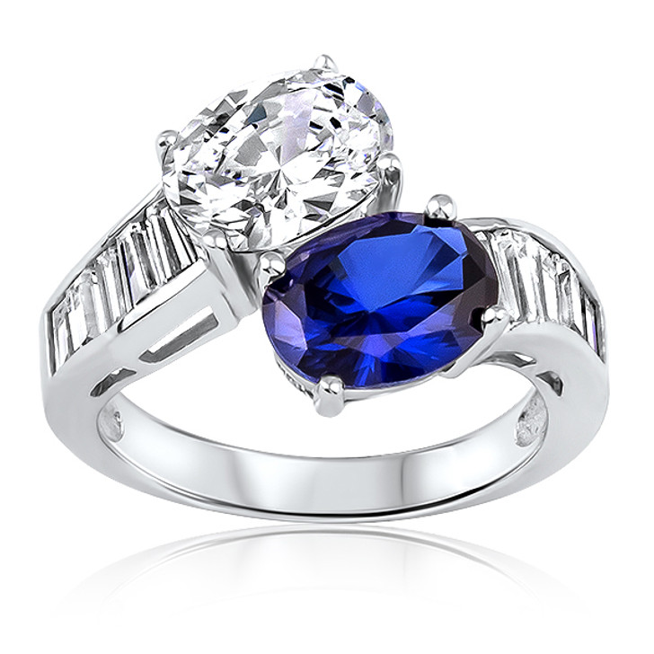 Lab Created Sapphire Nassau Double Oval with Baguettes Bypass Ring