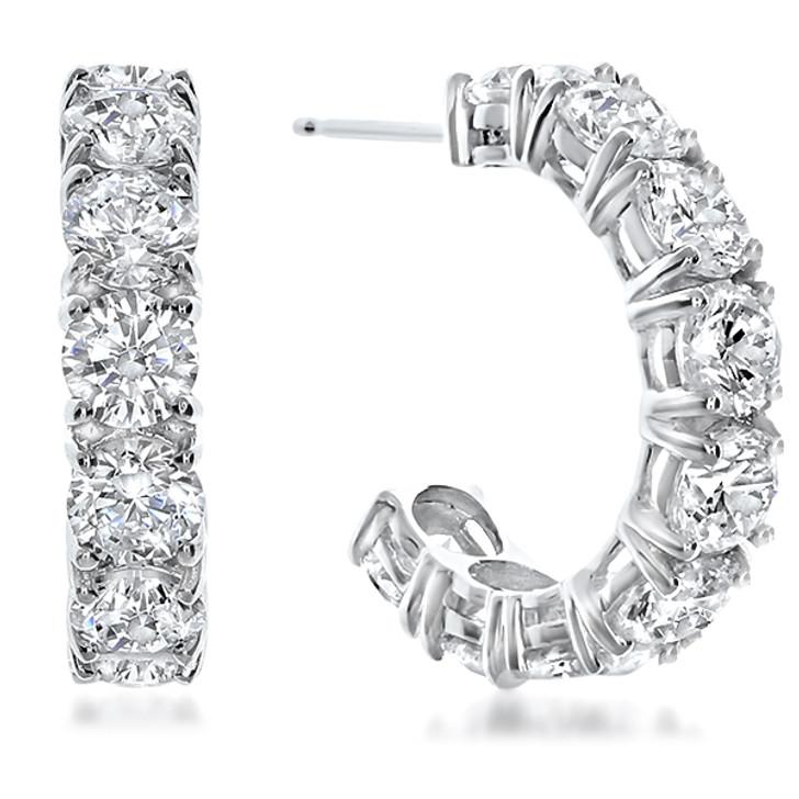 14K White Gold Sarah Large Prong Set Round Cubic Zirconia Hoop Earrings