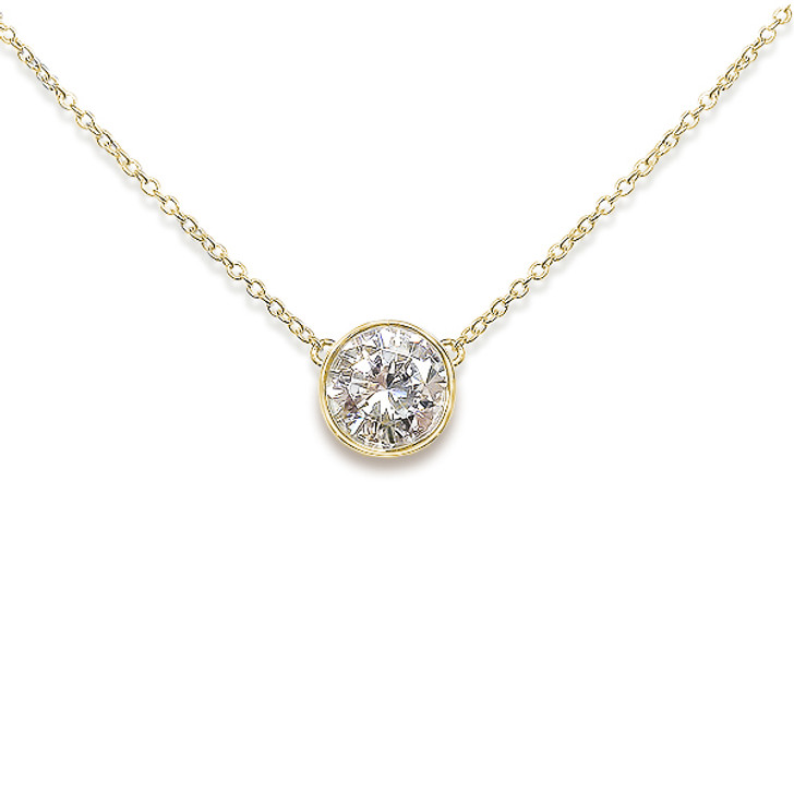 3.0 Carat Round Bella CZ Fixed Bezel Pendant Necklace in 14K White Gold, 18 inches