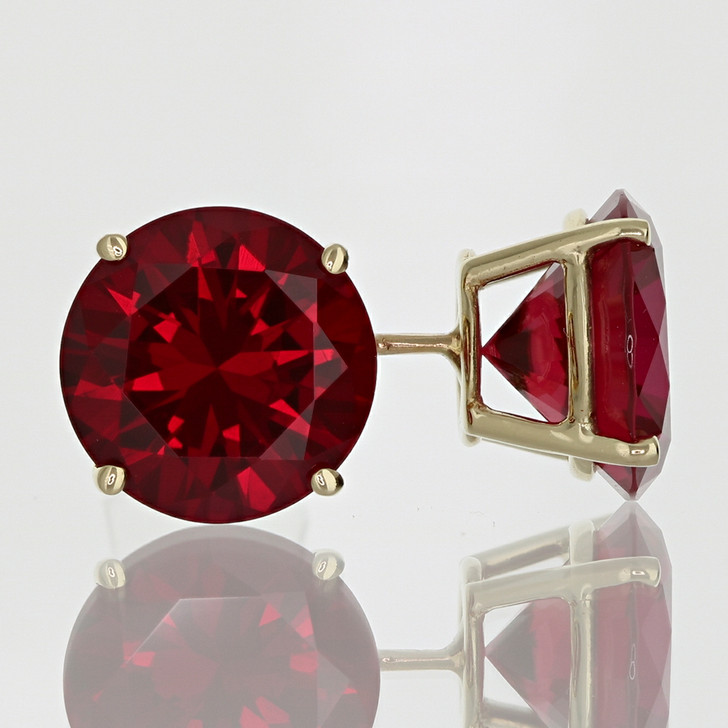 4.0 Carat Each Basket Set Lab Created Ruby Studs in 14K Yellow Gold