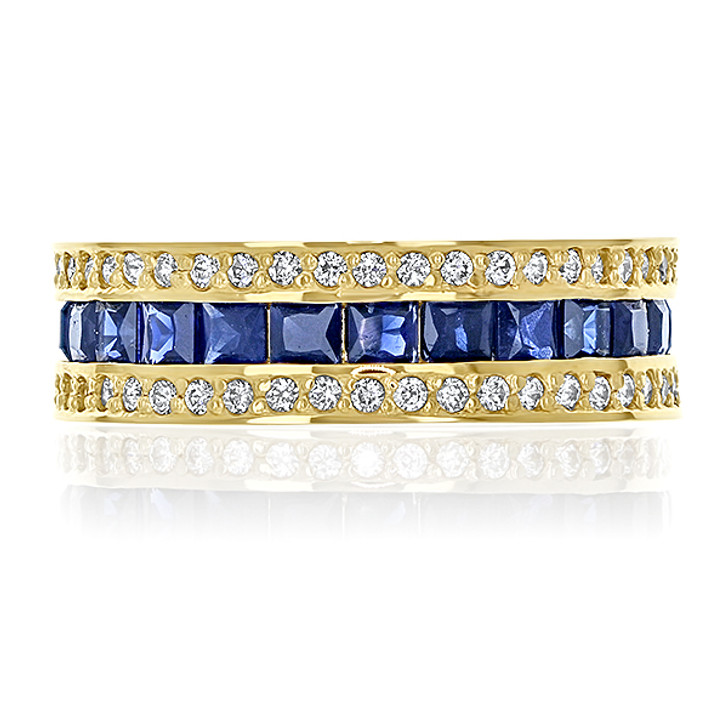 Giselle Triple Row Rounds & Princess Cut CZ Eternity Band Size 7