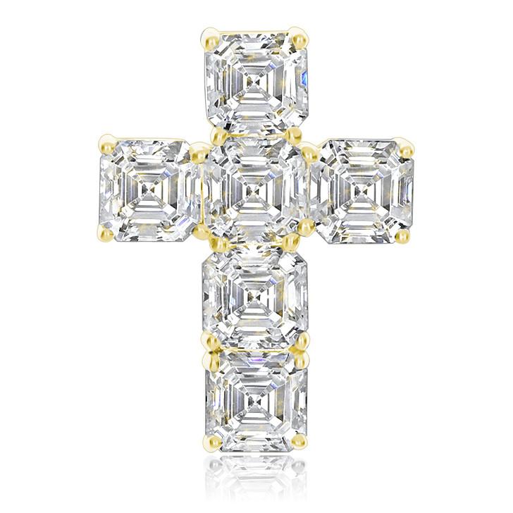 Crissy Cubic Zirconia Asscher Cross Pendant, 4.5 CTW in 14K Yellow Gold