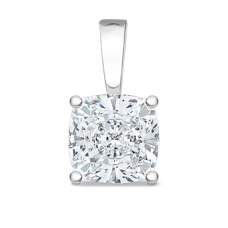 1.5 Carat Allure Cushion Cut CZ Solid Bail Solitaire Pendant