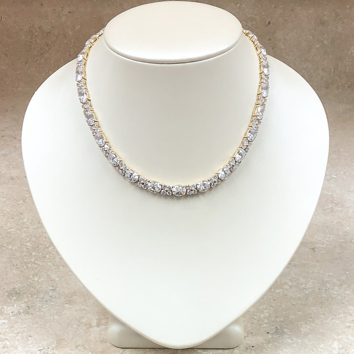 Pamela 1.5 Carat Each Oval with Rounds CZ Necklace 16-inches