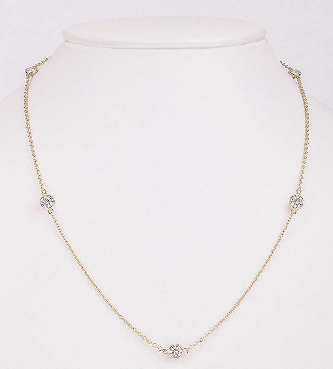 1.5 Carat Total Weight CZ By The Yard Bezel Rounds Station Necklace