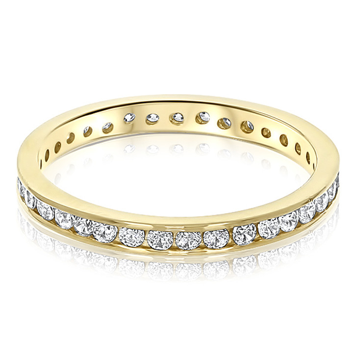 Kylie Channel Set Round CZ Eternity Stacking Band various sizes