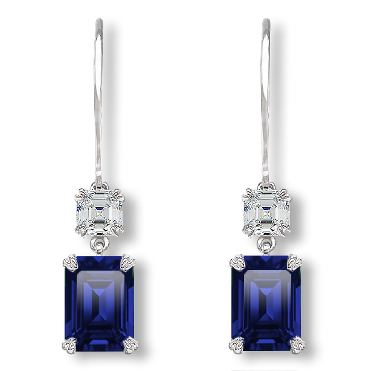 Lana Asscher & Emerald Cut CZ and Lab Created Sapphire Leverback Earrings