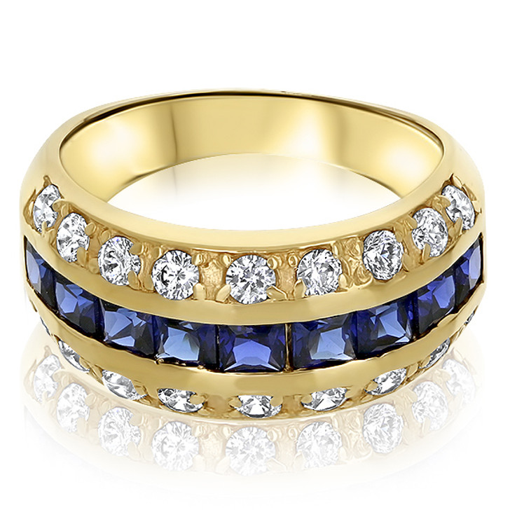 Bonnie CZ Princess Cut & Rounds Small Designer Band with Lab Sapphires