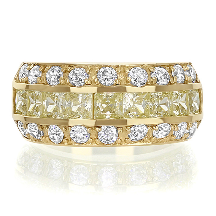 Bonnie CZ Princess Cut & Rounds Small Designer Band with Canary Yellow