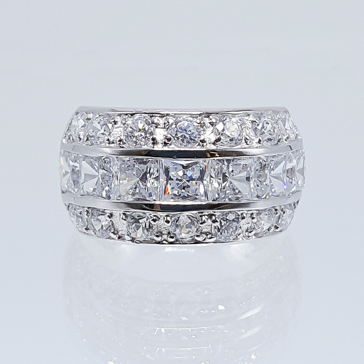Bonnie CZ Princess Cut & Rounds Large Designer Band in White Gold