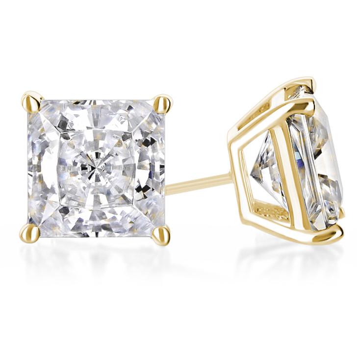 1.0 Carat Each Princess Cut CZ Stud Earrings in 14K Yellow Gold
