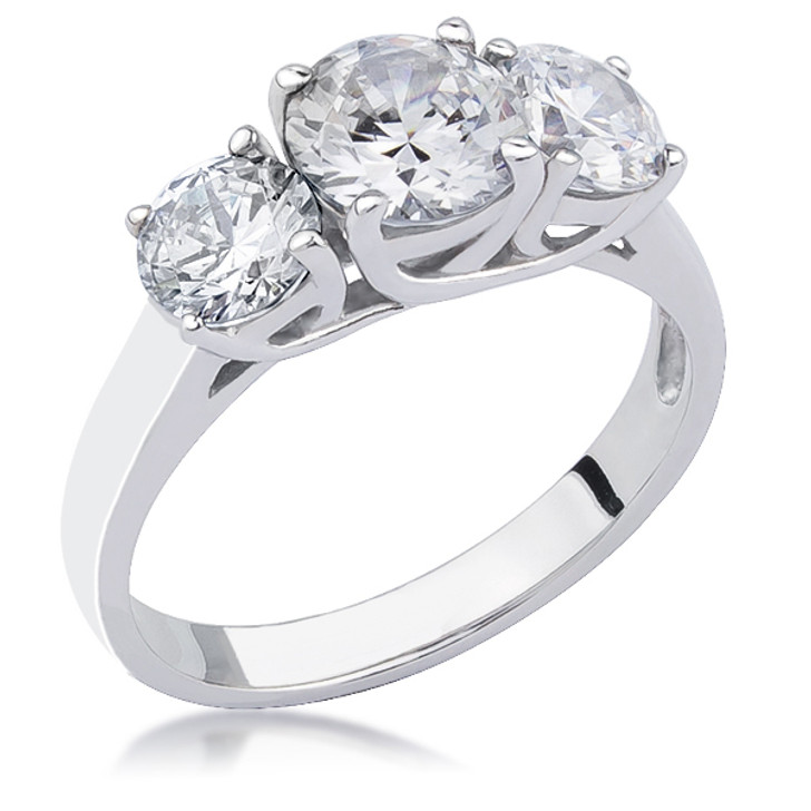 Arianna Rounds with Cross Basket CZ Three Stone Ring in 14K White Gold