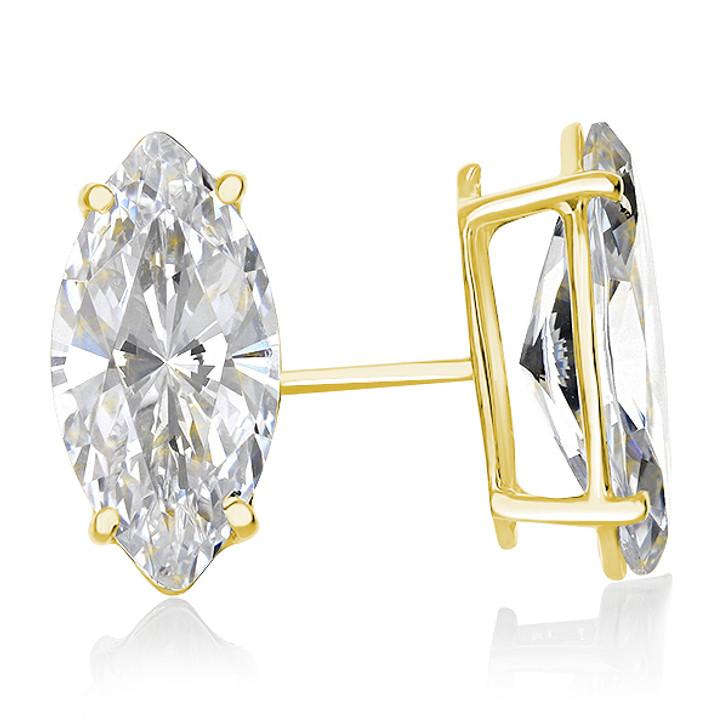 14K Yellow Gold Cubic Zirconia Marquise Stud Earrings