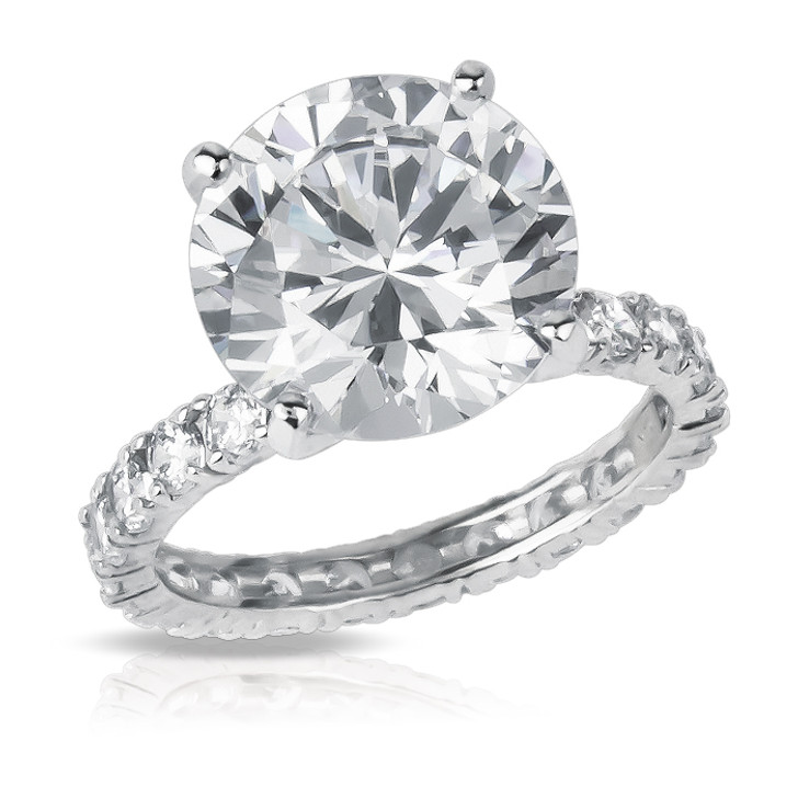 4.0 Carat Round Eternity Solitaire on CZ Eternity Band Finger Size 3.0