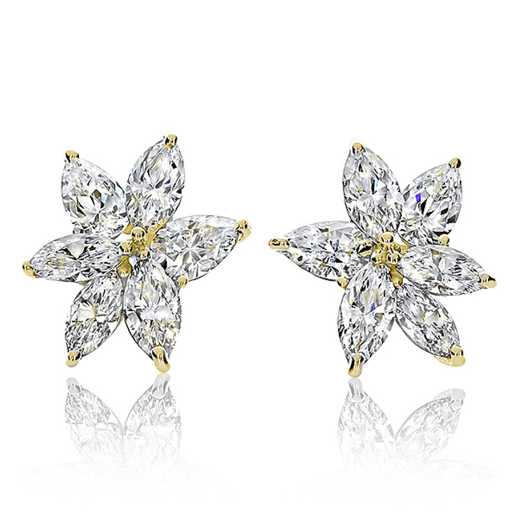Snowflake Marquise & Pear CZ Cluster Earrings in 14K Yellow Gold