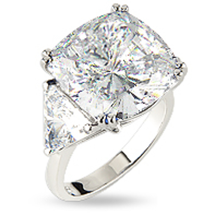 5.5 Carat Cushion Cut with Trillions Cubic Zirconia Ring