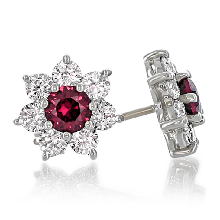 Abby Round Flower Cluster Lab Created Ruby and CZ Earrings