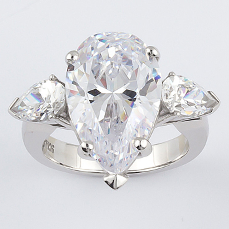 Stacey 12.0 Carat Pear Center with Pear Sides Three Stone CZ Ring