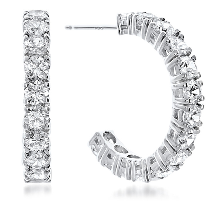 Sarah Medium Prong Set Round Cubic Zirconia Hoop Earrings - Sale